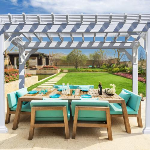 bedford style vinyl pergola on patio