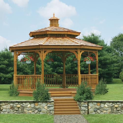 octagon wood gazebo with double roof scene