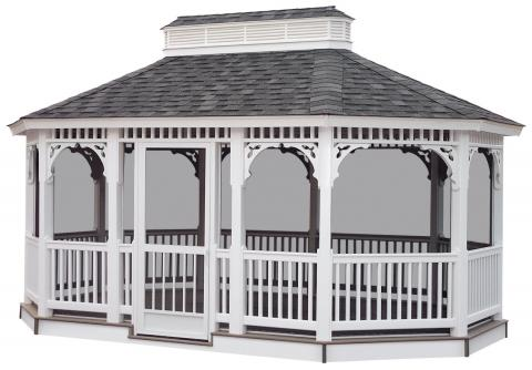 Vinyl Gazebo with Screen Package