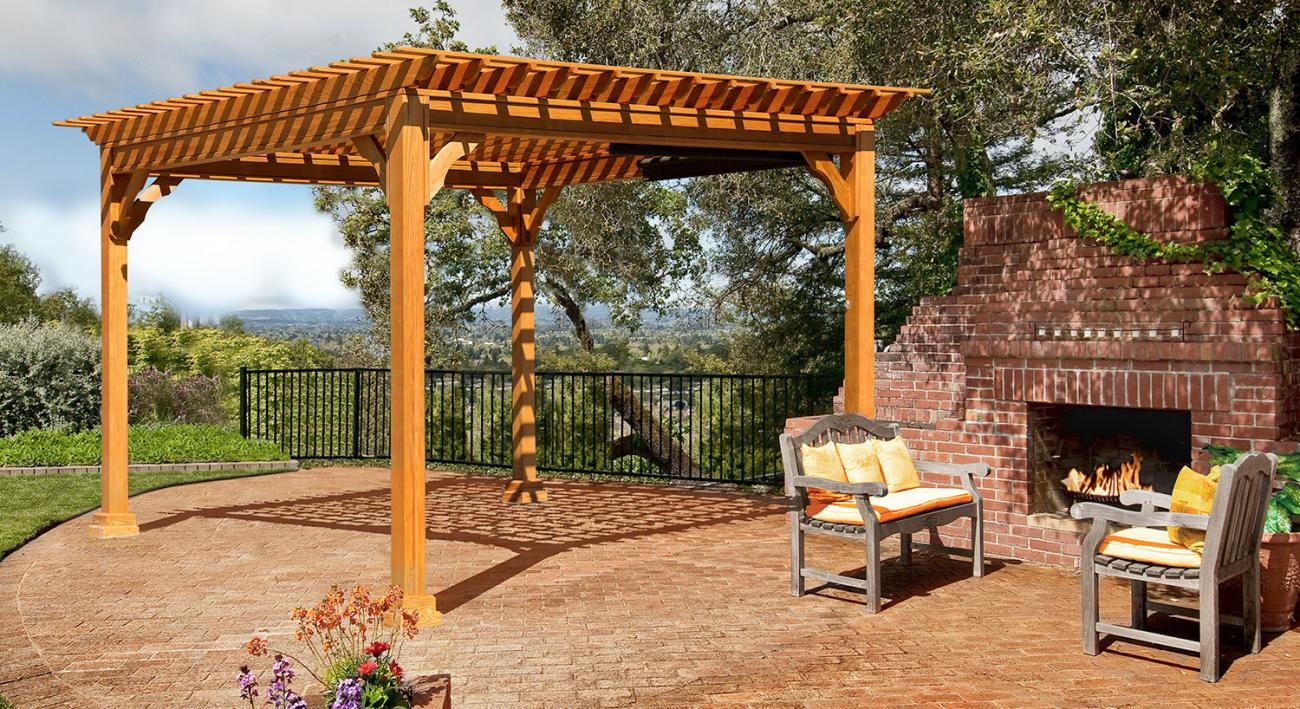 Bedford Style Wood Pergola With Redwood Stain And Optional Easy Roll Solar  Shades