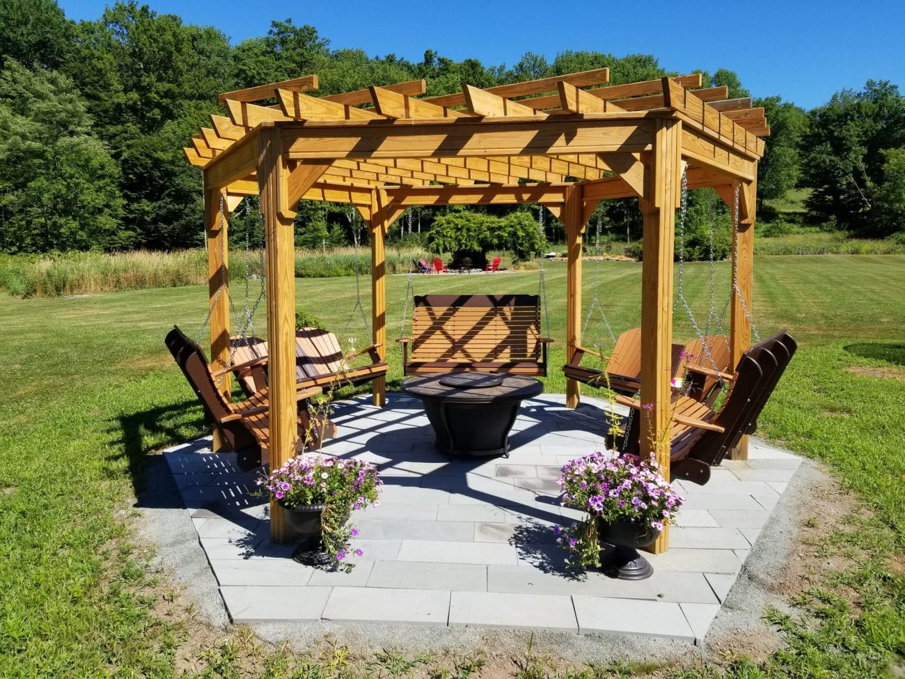 Gazebo With Fire Pit And Swings Mycoffeepot Org