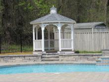 10' vinyl gazebo with single roof by pool