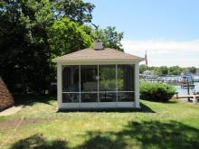 14' x 14' Vinyl Hip Roof Pavilion with Slider Screens