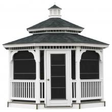 vinyl gazebo with double roof and sliding panels