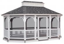 oval vinyl gazebo with screening