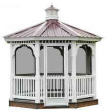 vinyl gazebo with metal roof and screening