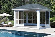 vinyl pavilion with sliding panels scene with pool