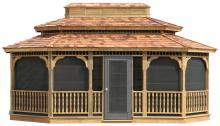 oval wood gazebo with double roof and sliding panels