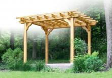 10x10 traditional style wood pergola with gold stain